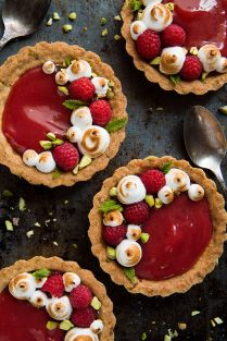 Rhubarb With Pistachios, Berries, Shortbread Crust
