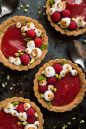 Rhubarb With Pistachios, Berries, Shortbread Crust
