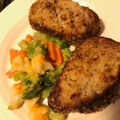 breaded pork chops n veggies I