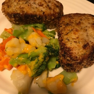 breaded pork chops n veggies