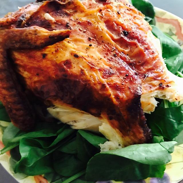 half chicken seasoned spinach