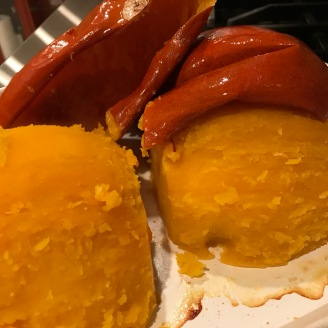 Another shot of the roast pumpkin after is cooled down.